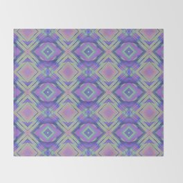 Purple and Green Woven Squares Throw Blanket