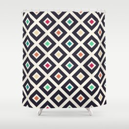 Modern Trendy Geometric Patter in Fresh Vintage Coffee Style Colors Shower Curtain