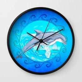 Dolphin Maori Sun Wall Clock