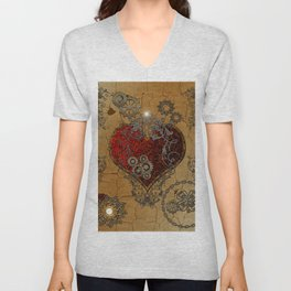 Steampunk, awesome heart Unisex V-Neck