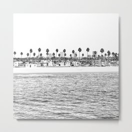 Vintage Newport Beach Print {4 of 4} | Photography Ocean Palm Trees B&W Tropical Summer Sky Metal Print