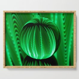 Green waves in glass ball Serving Tray