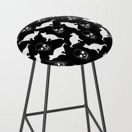 Skulls, Cats, Black and White, Pattern Bar Stool
