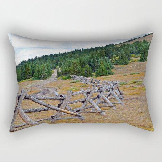 Fenceline in the fall Rectangular Pillow