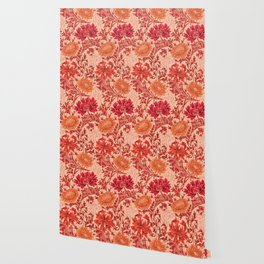William Morris Chrysanthemums, Coral Orange Wallpaper