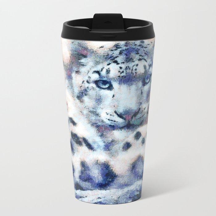 Snow Leopard Metal Travel Mug