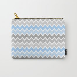 Gray Blue Chevron Carry-All Pouch
