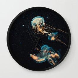 Blue & Orange Jellyfish Wall Clock
