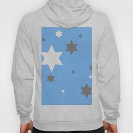 SIMPLY GREY & WHITE STARS ON BABY BLUE DESIGN Hoody