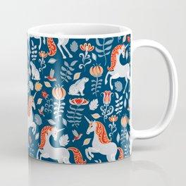Unicorns, rabbits, birds, flowers. Decorative seamless pattern. Folk art. Coffee Mug