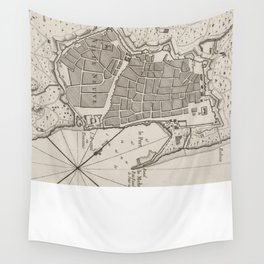 Vintage Map of Barcelona Spain (1764) Wall Tapestry