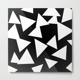 Triangles Black and White Metal Print