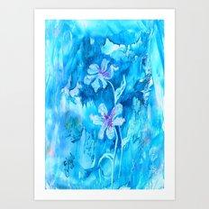 Blue encaustic flowers Art Print