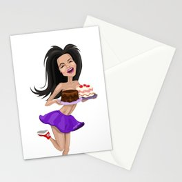 Happy crazy girl Stationery Cards