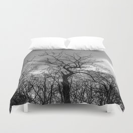 Witchy black and white tree Duvet Cover