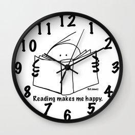 Reading makes me happy. Wall Clock