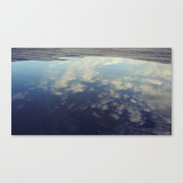 Sky Reflection in Puddle on Seattle Pier  Canvas Print