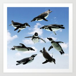 Flying Penguins Art Print