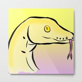 """Yellow Boa Snake """"Snek"""" Metal Print"""