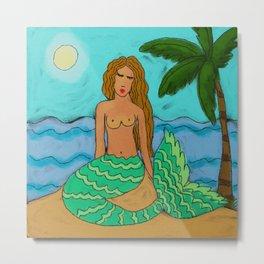 Mermaid Under a Palm Tree Metal Print