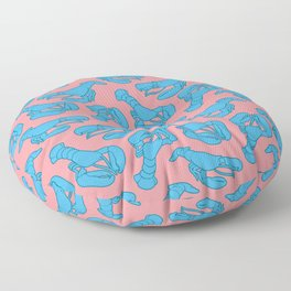 Blue lobsters on dusty pink. Floor Pillow