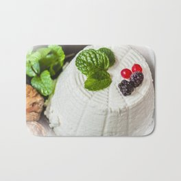 Fantasy of ricotta cheese, berries, dried figs and fresh mint Bath Mat