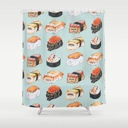 Sushi Persian Cat Watercolor Shower Curtain