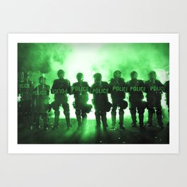 Riot Police Line - Green Cast Art Print
