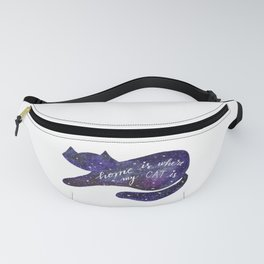 Watercolor Galaxy Cat - purple Fanny Pack