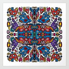 Graffiti Art Mandala of Life full of Creatures  Art Print