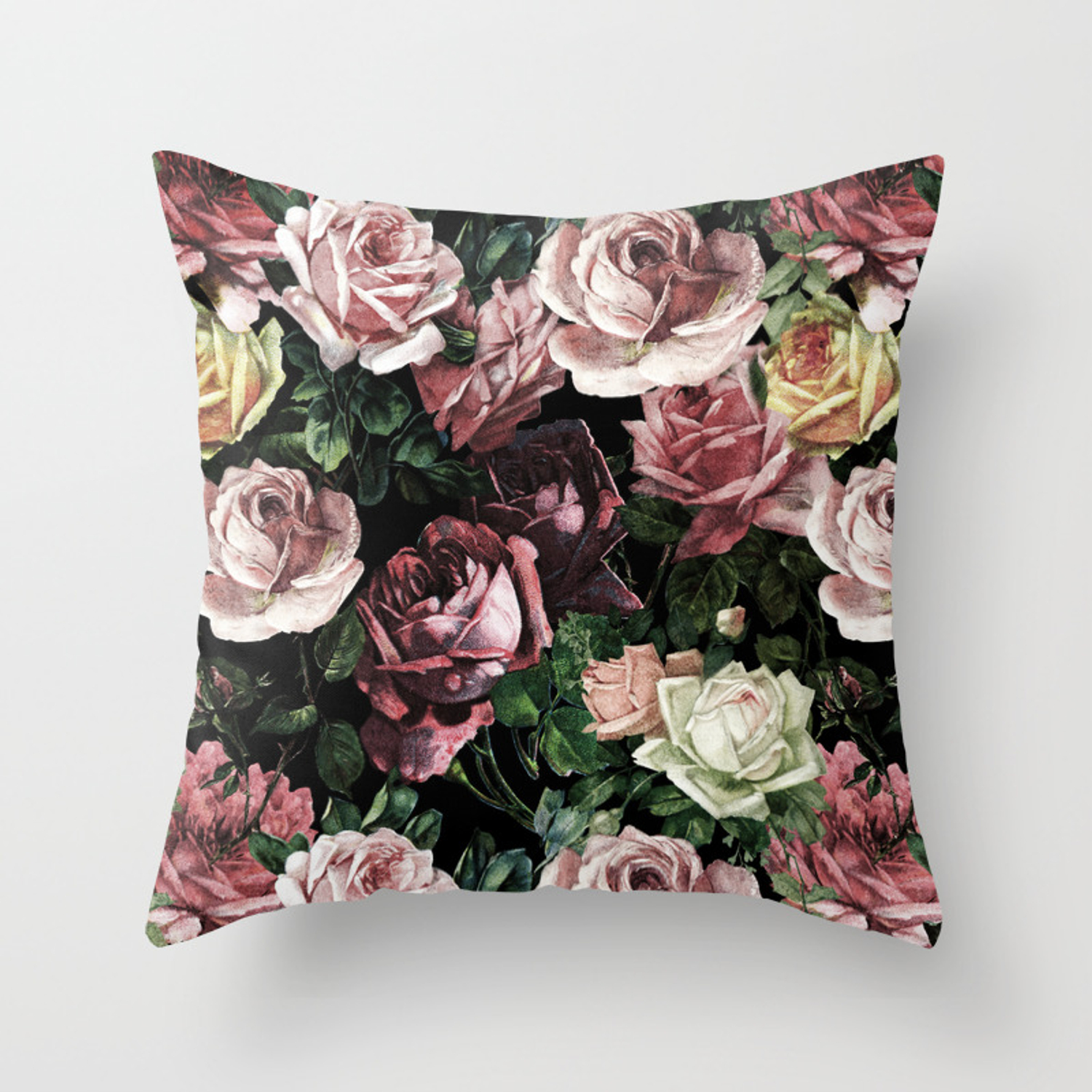 Vintage Shabby Chic Dark Retro Floral Roses Pattern Throw Pillow By Vintage Love Society6