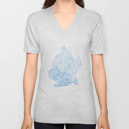Typographic Brooklyn - Blue Watercolor map art Unisex V-Neck