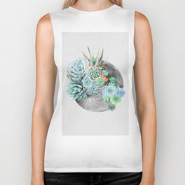 Moon, Plant, Succulent, Space, Collage, Modern, Minimal Art Print Biker Tank