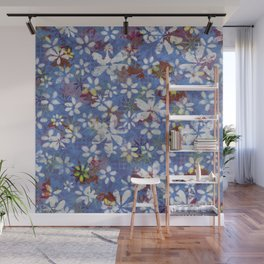 Autumn Petals on Dusty Blue Wall Mural