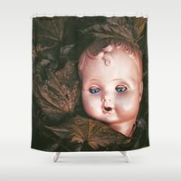 creepy Shower Curtains featuring Creepy Doll by Maria Heyens