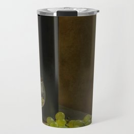 Still life with wine and green grapes Travel Mug