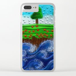 Beaded landscape Textured abstract with sea waves in the foreground and trees Clear iPhone Case