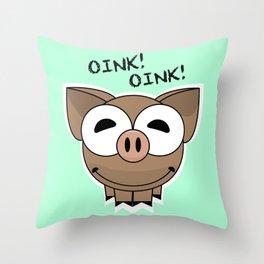 Pig Oink Piggy Pink animal framed poster art mug Throw Pillow