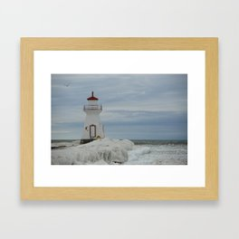 Frozen Lighthouse Framed Art Print