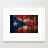 puerto rico Framed Art Prints featuring puerto rico wood background by franckreporter