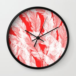Pink feathers Wall Clock