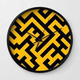 Black and Amber Orange Diagonal Labyrinth Wall Clock