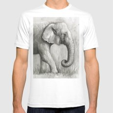 Elephant Black and White Watercolor Animals MEDIUM Mens Fitted Tee White