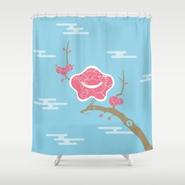 Plum and Dragon Shower Curtain