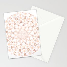 Rosey peach spring floral mandala Stationery Cards