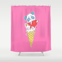 ice cream Shower Curtains featuring Ice Cream by Freeminds