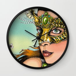 Maiden with Masquerade Mask Wall Clock