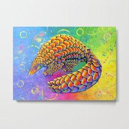 Psychedelic Rainbow Pangolin Metal Print