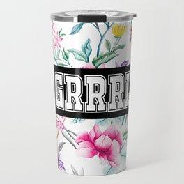 GRRRL - white floral pattern Travel Mug