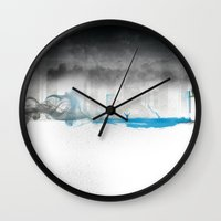 the strokes Wall Clocks featuring Strokes by Dhruv Seth